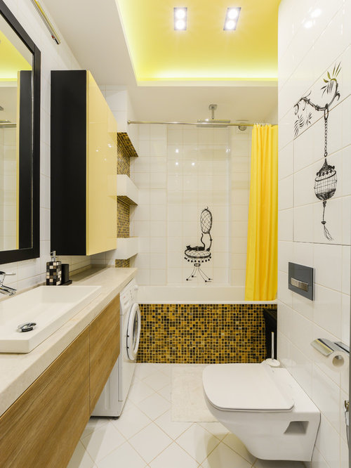 Example Of A Mid Sized Trendy Master White Tile, Yellow Tile, Black Tile