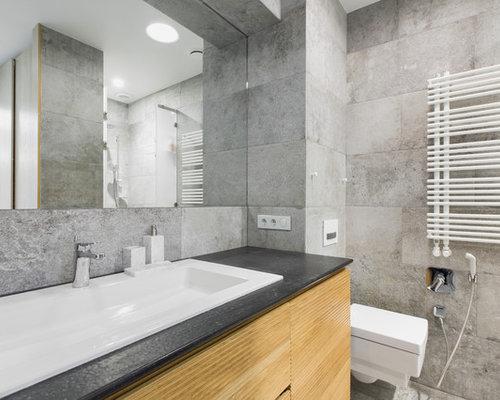 Scandinavian Bathroom Design Ideas Renovations Photos With Light Wood Cabinets