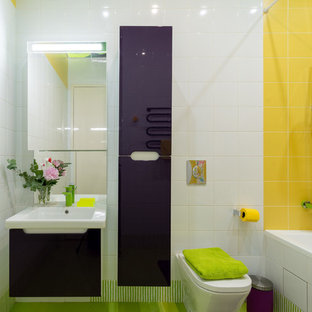 Inspiration for a medium sized bohemian family bathroom in Moscow with flat-panel cabinets, purple cabinets, a submerged bath, yellow tiles, ceramic tiles, white walls and porcelain flooring.