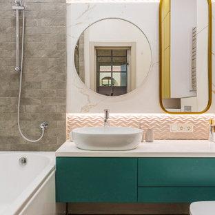 Пример оригинального дизайна: большая ванная комната в современном стиле
