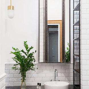 На фото: ванные комнаты в стиле современная классика с белой плиткой, плиткой кабанчик, белыми стенами и настольной раковиной