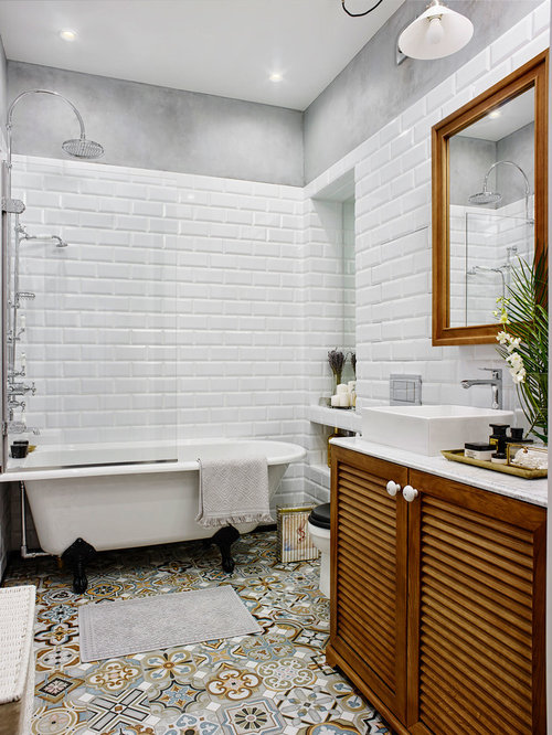 example of an eclectic master bathroom design in moscow with louvered cabinets medium tone wood