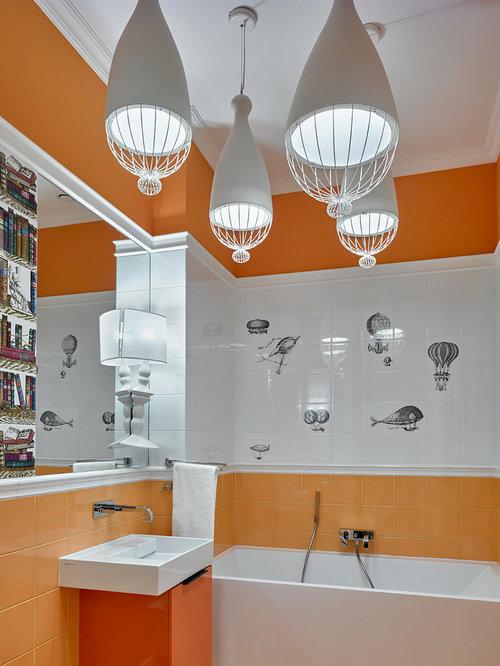 inspiration for a contemporary kids white tile and orange tile ceramic floor alcove bathtub remodel - Bathroom Designs Orange
