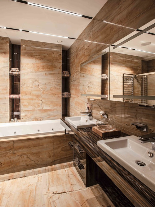 midsized trendy master bathroom photo in moscow with a dropin sink