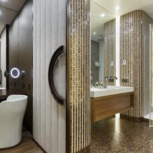 Идея дизайна: ванная комната в современном стиле с плоскими фасадами, фасадами цвета дерева среднего тона, душем в нише, плиткой мозаикой, душевой кабиной и раковиной с несколькими смесителями