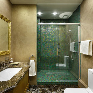 Example Of A Large Trendy Green Tile And Mosaic Corner Shower Design In Other With