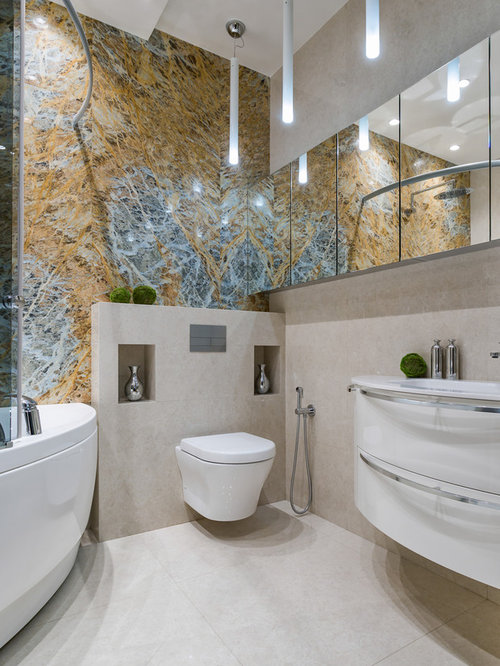 Bathroom - mid-sized contemporary master blue tile, yellow tile and marble  tile marble