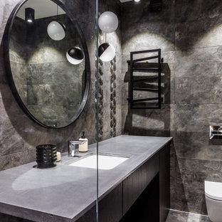Свежая идея для дизайна: ванная комната в современном стиле с плоскими фасадами, черными фасадами, инсталляцией, серой плиткой, душевой кабиной, врезной раковиной, серым полом, серой столешницей, унитазом, тумбой под одну раковину и напольной тумбой - отличное фото интерьера