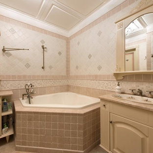 Example Of A Mid Sized Classic Master Stone Tile And Beige Marble Floor Corner