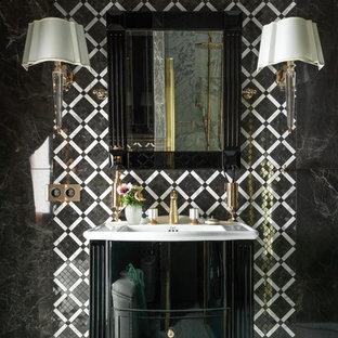 Неиссякаемый источник вдохновения для домашнего уюта: ванная комната в стиле современная классика с плоскими фасадами, черными фасадами, черно-белой плиткой, черной плиткой, монолитной раковиной и белым полом
