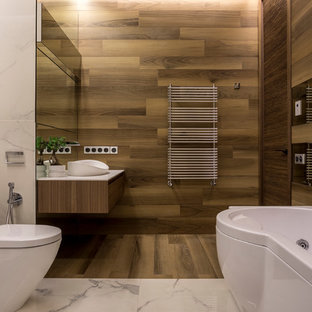 Mid Sized Trendy Brown Tile And Porcelain Tile Porcelain Floor And Brown  Floor Bathroom Photo