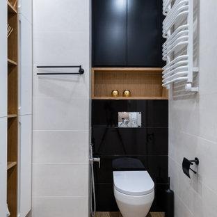 Свежая идея для дизайна: ванная комната в современном стиле с инсталляцией, бежевой плиткой и унитазом - отличное фото интерьера