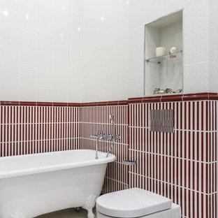 Пример оригинального дизайна: главная ванная комната в стиле современная классика с ванной на ножках, инсталляцией, белой плиткой, красной плиткой и белым полом