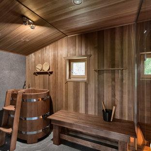Выдающиеся фото от архитекторов и дизайнеров интерьера: баня и сауна в стиле рустика