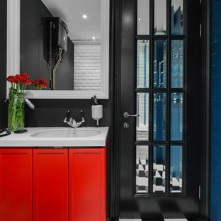 Trendy master blue tile and black and white tile bathroom photo in Moscow with recessed-panel cabinets, red cabinets, an undermount sink and black walls
