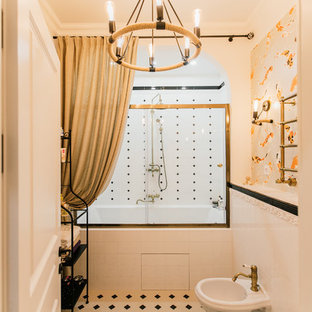 Example of a large tuscan master white tile and ceramic tile white floor and cement tile floor bathroom design in Other with a wall-mount toilet, wood countertops, louvered cabinets, brown cabinets, white walls and a drop-in sink