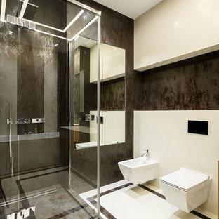 На фото: ванная комната в современном стиле с инсталляцией, коричневой плиткой, душевой кабиной и разноцветным полом с