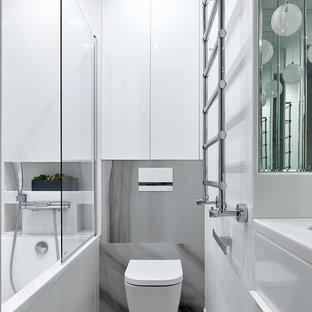 Стильный дизайн: главная ванная комната среднего размера в современном стиле с инсталляцией, белыми стенами, серым полом и белой столешницей - последний тренд