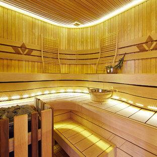 Удачное сочетание для дизайна помещения: баня и сауна среднего размера в современном стиле - самое интересное для вас