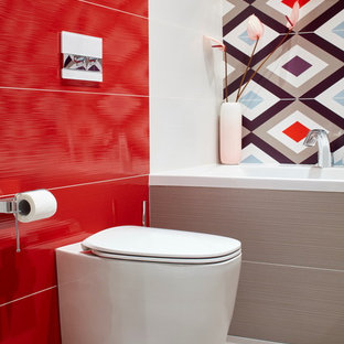 75 Most Popular Red Bathroom with Multi-coloured Tiles Design Ideas