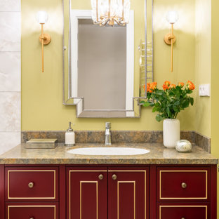Yellow Bathroom With Red Cabinets