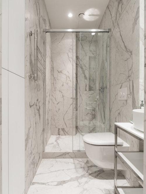 Salle d\'eau avec du carrelage en marbre : Photos et idées déco de ...