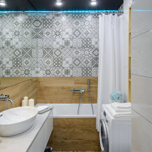 Inspiration For A Small Contemporary Master Porcelain Tile And Gray Tile  Porcelain Floor And Gray Floor