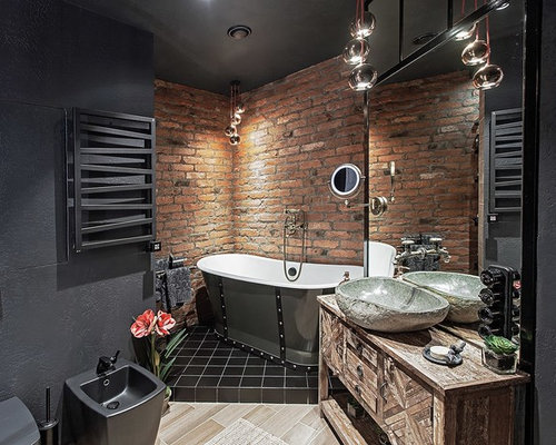 bad mit schr nken im used look im industrial style ideen bilder houzz. Black Bedroom Furniture Sets. Home Design Ideas