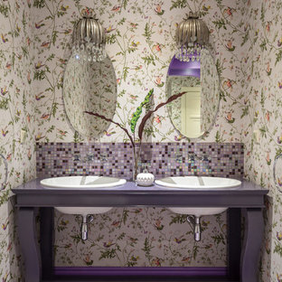 Eclectic mosaic tile mosaic tile floor and purple floor bathroom photo in Moscow with purple cabinets, multicolored walls, a drop-in sink, purple countertops and open cabinets