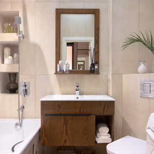 This is an example of a medium sized scandinavian ensuite bathroom in Moscow with flat-panel cabinets, medium wood cabinets, beige tiles, ceramic tiles, beige walls, ceramic flooring, brown floors, white worktops, a single sink and a floating vanity unit.