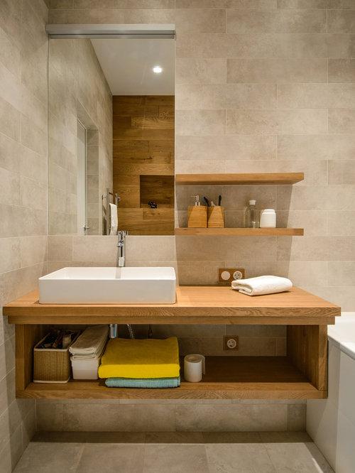 contemporary master gray tile porcelain floor alcove bathtub idea in novosibirsk with open cabinets medium