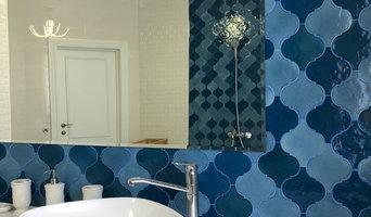 """Ванная комната с настенной керамической плиткой ручной работы """"Арабеска"""""""