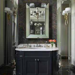 На фото: ванная комната в стиле современная классика с фасадами с утопленной филенкой, черными фасадами, мраморным полом и врезной раковиной