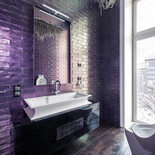 Bathroom - eclectic bathroom idea in Moscow with flat-panel cabinets, black cabinets, an urinal and a vessel sink