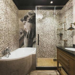 На фото: маленькая главная ванная комната в стиле фьюжн с плоскими фасадами, угловой ванной, полом из керамогранита, столешницей из искусственного камня, бежевым полом, душем с распашными дверями, фасадами цвета дерева среднего тона, угловым душем, коричневой плиткой, врезной раковиной и плиткой мозаикой с