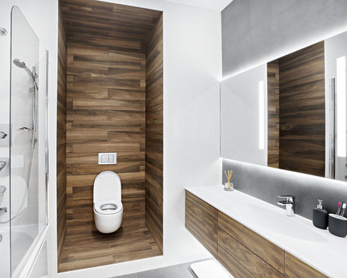 Photo Of A Scandi Ensuite Bathroom In Saint Petersburg With Flat Panel Cabinets Medium