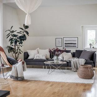 Idéer för ett minimalistiskt vardagsrum, med vita väggar, mellanmörkt trägolv och brunt golv