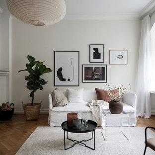 Idéer för ett skandinaviskt separat vardagsrum, med vita väggar, mellanmörkt trägolv, en standard öppen spis, en spiselkrans i gips och brunt golv