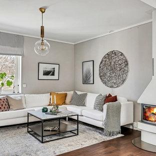 Inspiration för mellanstora nordiska separata vardagsrum, med grå väggar, mellanmörkt trägolv, brunt golv, en dubbelsidig öppen spis och en spiselkrans i metall