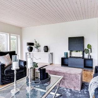Idéer för ett klassiskt vardagsrum, med vita väggar