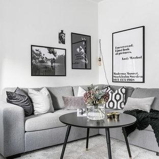 Inredning av ett skandinaviskt vardagsrum, med vita väggar, heltäckningsmatta och grått golv