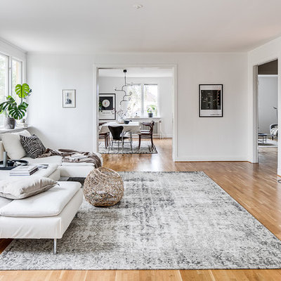 Living room - mid-sized scandinavian enclosed medium tone wood floor and beige floor living room idea in Malmo with white walls and no fireplace