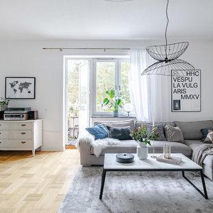 Inspiration för minimalistiska separata vardagsrum, med vita väggar, mellanmörkt trägolv och brunt golv