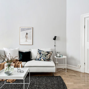 Photo of a medium sized scandi enclosed living room in Gothenburg with brown walls and medium hardwood flooring.