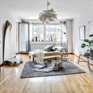Inspiration för ett stort nordiskt separat vardagsrum, med ljust trägolv och vita väggar