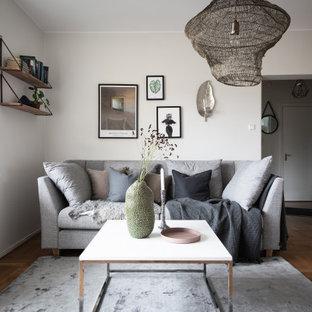 Idéer för att renovera ett funkis vardagsrum, med vita väggar, mellanmörkt trägolv och brunt golv