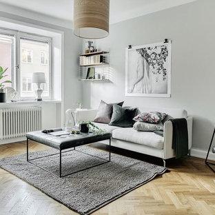 Inredning av ett skandinaviskt litet separat vardagsrum, med grå väggar, beiget golv och ljust trägolv