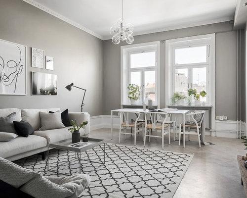 Foton och inredningsidéer för separata vardagsrum, med betonggolv