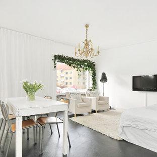 ストックホルムの中サイズのシャビーシック調のおしゃれなLDK (白い壁、コンクリートの床、壁掛け型テレビ) の写真