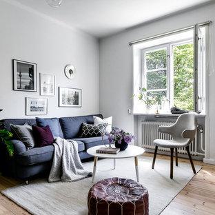 Bild på ett litet skandinaviskt vardagsrum, med ljust trägolv, grå väggar och beiget golv